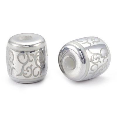 Bright Silver Scroll - (5 Beads)