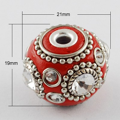 20mm Red Crystal Sparkly Round  (2 Beads) - SORRY OUT OF STOCK