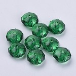 22mm Dark Green Faceted Acrylic Pillow - (5 Beads)