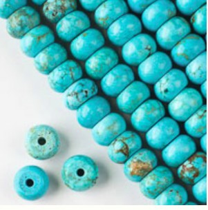 8 x 12mm Turquoise Howlite Rondell - (1 Strand) - SORRY OUT OF STOCK