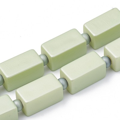 22mm Soft Green Square Acrylic Tube - (3 Beads)