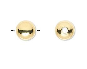 10mm Gold Perfectly Round  - (10 Beads)