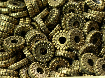 10mm Metalized Plastic Antique Gold Rondelle - (20 Beads)
