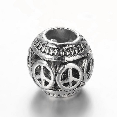 11mm Silver-Plated Peace Signs - (5 Beads)
