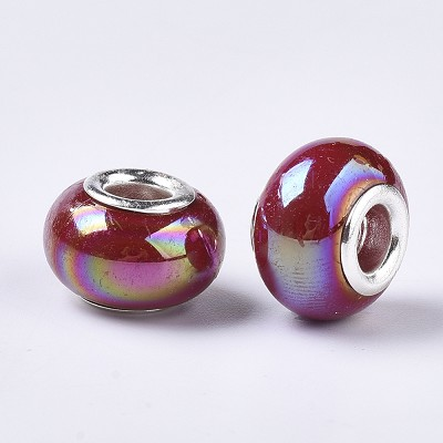 14mm Cranberry Pearl Acrylic - (4 Beads)