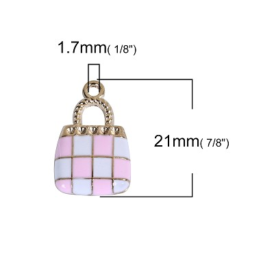 Pink Checkered Handbag - (3 Charms)
