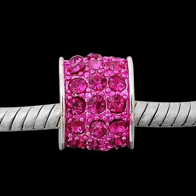 13 x 10mm Hot Pink Crystal Drum - (4 Beads)