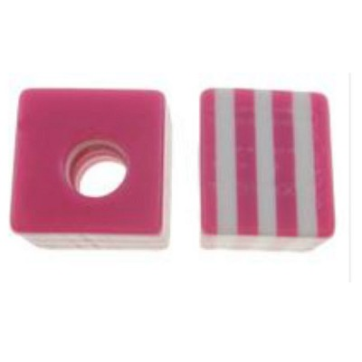 10mm  Pink & White Stripe Square  - (10 Beads)