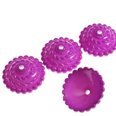 Purple Plastic Beadcap - (6 Pieces)