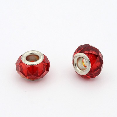 13mm Faceted Red Glass - (10 Beads)