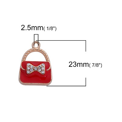 Red and Gold Handbag Charm  - (3 Charms) - SORRY OUT OF STOCK