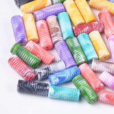 27mm Ribbed Ridges Tube - (3 Beads)