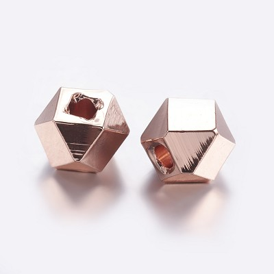 10.5mm Rose Gold Polygon - (5 Beads)