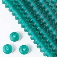Matte Sea Green Sea Glass Rondell - (1 Strand)