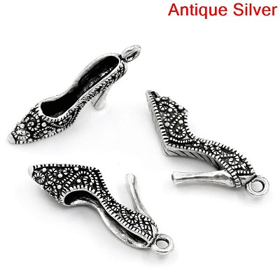 39mm Large Silver Metal High Heel - (3 Beads)