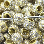 Gold Metal Round Sparkle  (3 Beads)