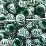 Green Metal Round Sparkle  (3 Beads)