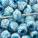 Turquoise Metal Round Sparkle  (3 Beads)
