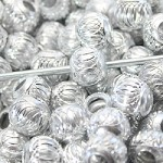 Silver Metal Round Sparkle  (3 Beads)