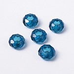 14mm Teal Faceted Rondell - (5 Beads)