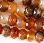 8 x 12mm Faceted Carnelian Rondells  - (1 Strand)