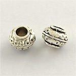 8mm  Antique Silver Squatty Spaceship - (10 Beads)