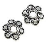 15mm Silver-Plated Flower Bead Cap - (4 Pieces)