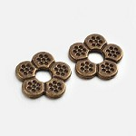 12mm Bronze Beaded Flower - (5 Beads)