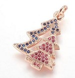 22mm  Rosegold Crystal Christmas Tree Charm
