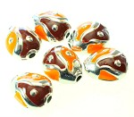 50% OFF 22mm Brown/Orange Acrylic (6 Beads)