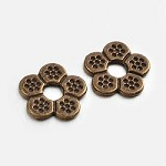 Antique Bronze Pewter Beaded Flower  (10 Beads)