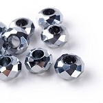 14mm Metallic Silver Faceted - (5 Beads)