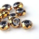 14mm Metallic Gold Faceted - (5 Beads)