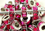 Hot Pink Crystal Rondell  - (3 Beads)