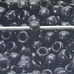 8mm Black Acrylic Pony Beads - (10 Beads)