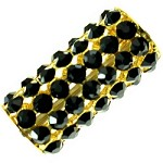 32mm Black Crystal Gold Tube - (1 Bead)