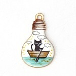 Cat in a Row Boat Charm - (3 Charms)