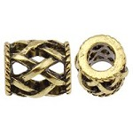 Antique Gold Weave  Spacer  - (5 Beads)