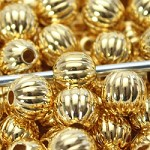 10mm Gold Rounds  - (5 Beads)