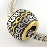 11mm Vintage Swirl Antique Gold - (3 Beads)