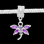 Purple Crystal Dragonfly - (3 Beads)
