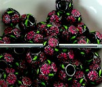 10mm Pink Flowers - (3 Beads)