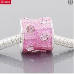 Pink Crystal Barrel  - (3 Beads)