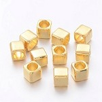 6mm x 6mm Square Golds - (5 Beads)