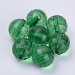 24mm GreenFaceted Acrylic Rounds - (5 Beads)