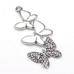 Silver Crystal Butterflies - (2 Charms)