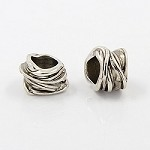 15mm Large Silver Metal Weaves - (3 Beads)