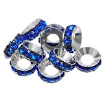 10mm Cobalt Crystal Rondell - (4 Beads)