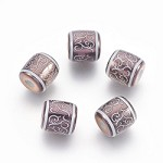 Bright Brown Scroll Barrel - (5 Beads)
