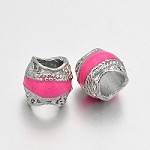 Coral/Pink Silver - (5 Beads)